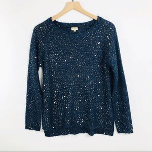 Cremieux navy gold sequin sweater large
